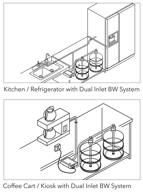 Dual inlet bottled water dispensing system