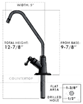 Hydro Black Angled Faucet Dimensions